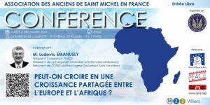 """Conférence """"Peut-On croire en une croissance partagée entre l'Europe et l'Afrique"""" avec M. Ludovic EMANUELY"""