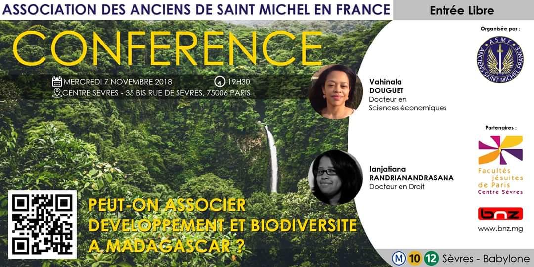 """Conférence """"Peut-on associer développement et biodiversité à Madagascar"""" avec Madame Vahinala DOUGUET et Madame Ianjatiana RANDRIANANDRASANA"""