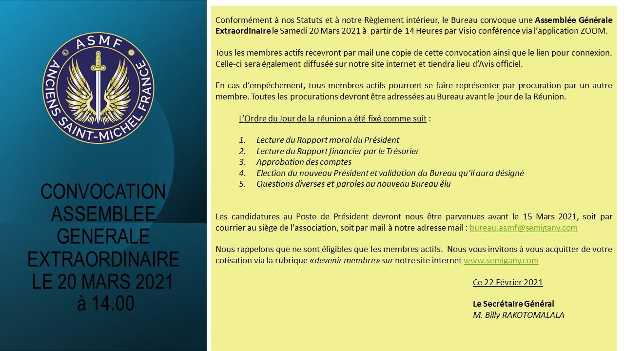 Convocation AGE du 20 Mars 2021 à partir de 14.00