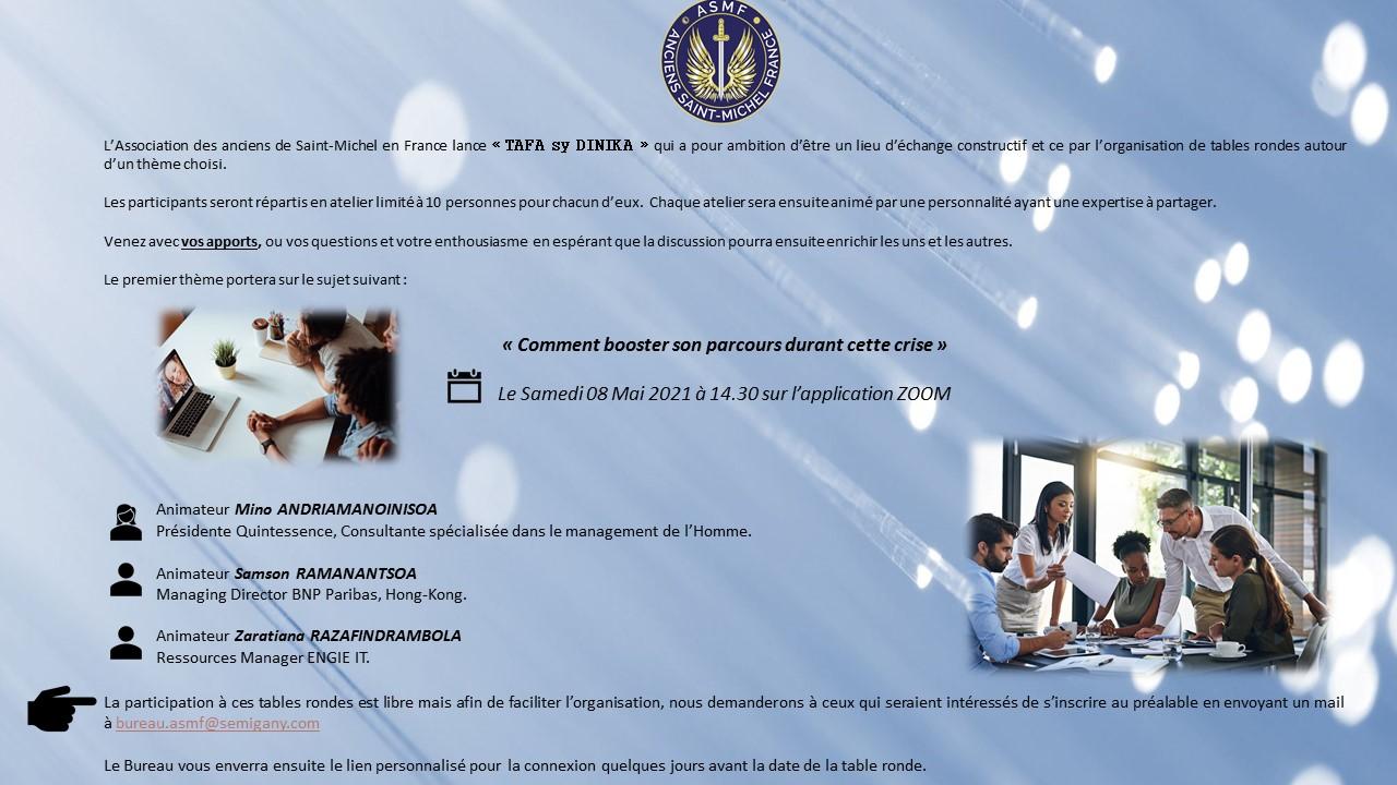 """Cercle de réflexion """"Tafa sy Dinika"""" du Samedi 08 Mai 2021 à 14 Heures 30"""