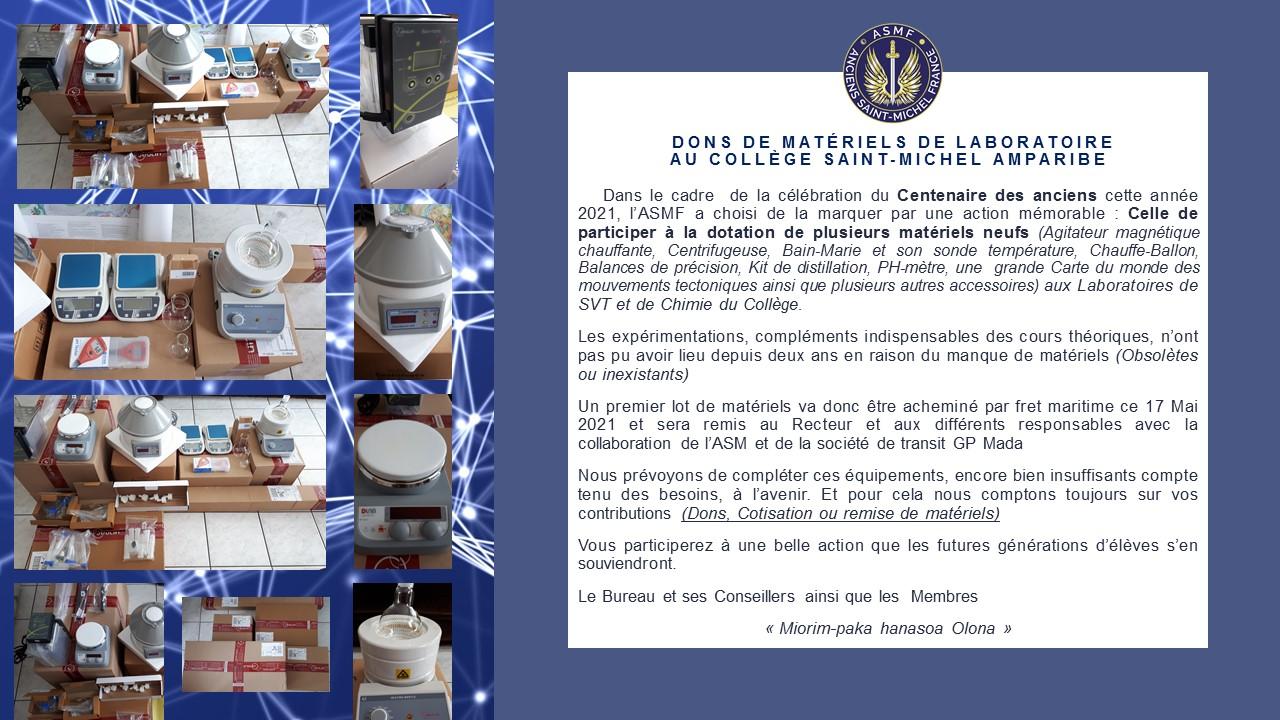 Concrétisation du Projet de rééquipement des  Laboratoires du Collège Saint-Michel Amparibe.